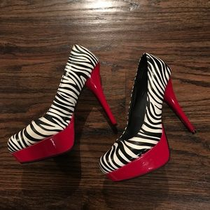 Red and Zebra printed Pumps